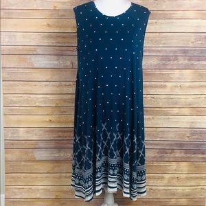 Style & Co Womens Dress Blue Polka Dot Floral 1X